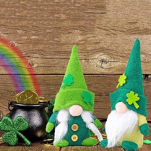 high quality OPTIMISTIC online ST. Patrick's Day Gnome Plush Toy Decorations Mr & online sale Mrs Gnomes Set of 2 Handmade Irish Leprechaun Nisse for Irish Saint Paddy's Day Gift Shamrock Dwarf Home Decoration Ornaments Set online sale
