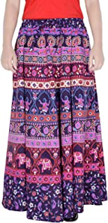 Jaipuri Print 38 Inch Length Women's Cotton Printed Regular Long Elasti Skirt for Women (E_E38NT-0003)