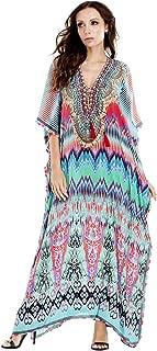 Maxi Bohemian Caftans Printed Multi Colored V-Neck Long Kaftan Dress Cover up Casual Summer
