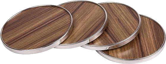 "Creative Home 50248 Fiber Board Coaster, 4"" x 1/4"", Brown"