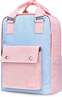 ARROSA 14 Backpack for Women & Teen Girls, Fashion Laptop Bag Cute for Work, Travel, College, with 10 Pockets, Powder/Pink