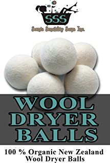 Wool Dryer Balls: 100 % Organic New Zealand Wool Dryer Balls (Wool Dryer Balls, Dryer Balls, Fabric Softener, Organic Fabric Softener, No Fillers, Wool Balls)