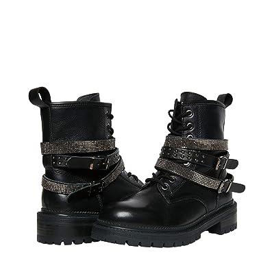 Steve Madden Captain Combat Boot (Black Leather) Women