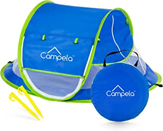 Campela Baby Travel Beach Tent for Infant and Babies - Mosquito Net and Sunshade Portable Newborn Crib Baby Bed Dome Pop up Sun Shelter Anti UV Sun Protection Factor 96.6%