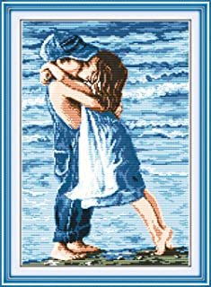 YEESAM ART Neu Kreuzstich Stickpackung - Strand-Paare 14 CT 31×43 cm DIY Stickerei Set Weiß Segeltuch - Kreuz Nähen Handarbeit Weihnachten Geschenke Cross Stitch Kit