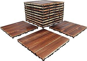 GOLENER Wood Interlocking Floor Tiles,Patio pavers,Deck Tiles Interlocking Outside All Weather,Outdoor Flooring for Patio Garden Deck Poolside,Balcony,Porch,Backyard,DIY Wooden Floor mat(Set of 9)