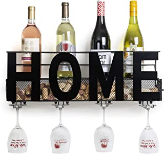 """Besti Premium Black Wall Mount Metal Wine Rack with """"Home"""" Word Hanging Horizontal Bottle Holder Storage Decorative Display – Sturdy Construction –Home Décor for Living Room Or Kitchen"""