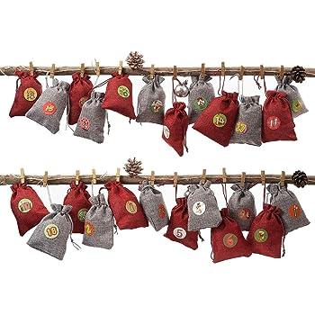 Sacchetti Regalo con Adesivi e Clip per Etichette Digitali 24 Pezzi Sacchetti di Tela con Coulisse Artigianato Artigianale Calendario DellAvvento di Natale Sacchetti di Caramelle per Natale