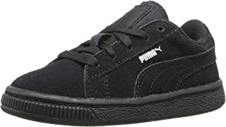 PUMA Boys' Suede Kids Sneaker, Black/Puma Silver, 4 M US Toddler