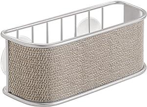 InterDesign Twillo porte-éponge, panier de rangement vaisselle en métal pour éponges, brosses, etc., égouttoir avec ventou...