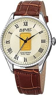 August Steiner AS8217 Certified Gold Ingot Bar Men's Watch – Genuine Leather Alligator Embossed Strap, Round Case with Coin Edge, Three Hand Quartz