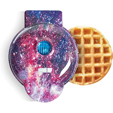Dash Mini Waffle Maker Machine for Individuals, Paninis, Hash Browns, & Other On the Go Breakfast, Lunch, or Snacks, with Easy to Clean, Non-Stick Sides, Purple Galaxy