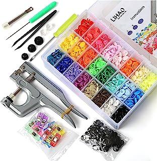 LIHAO Snaps Plástico T5 con Alicates Botones Presion y 12 Pinzas Costura (375 Botones,24 Colores)