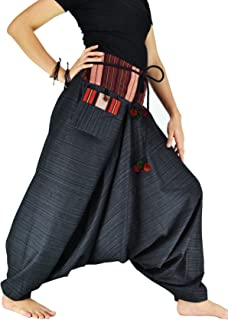 Harem Pants for Women and Men Traditional Loose Plus Size 100% Cotton Bohemian Style