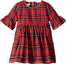 Red Tartan Plaid Long Sleeve Ruffle Dress (Infant)