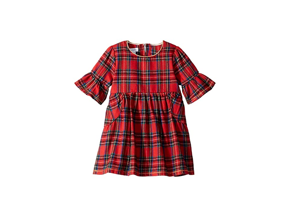 Mud Pie Red Tartan Plaid Long Sleeve Ruffle Dress (Infant) (Red) Girl