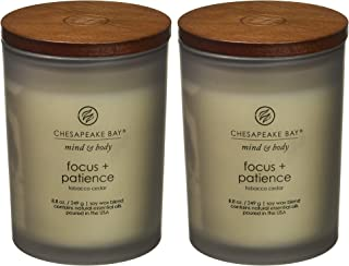 Chesapeake Bay Candle Scented Candles, Focus + Patience (Tobacco Cedar), Medium (2-Pack)