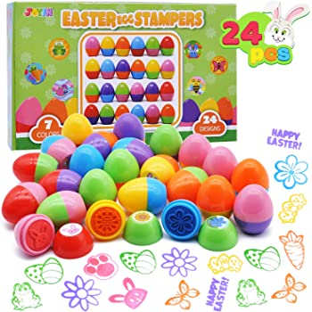 Konsait Happy Easter Stamps Stickers Bulk for Kids Assorted Easter Self Inking Egg Stampers Animal Stamps Stickers for Cards Scrapbook Envelope Easter Party Favor Holiday Crafts Supplies Decoration