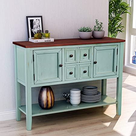 Cambridge Series Buffet Sideboard Console Table with Bottom Shelf Antique Blue