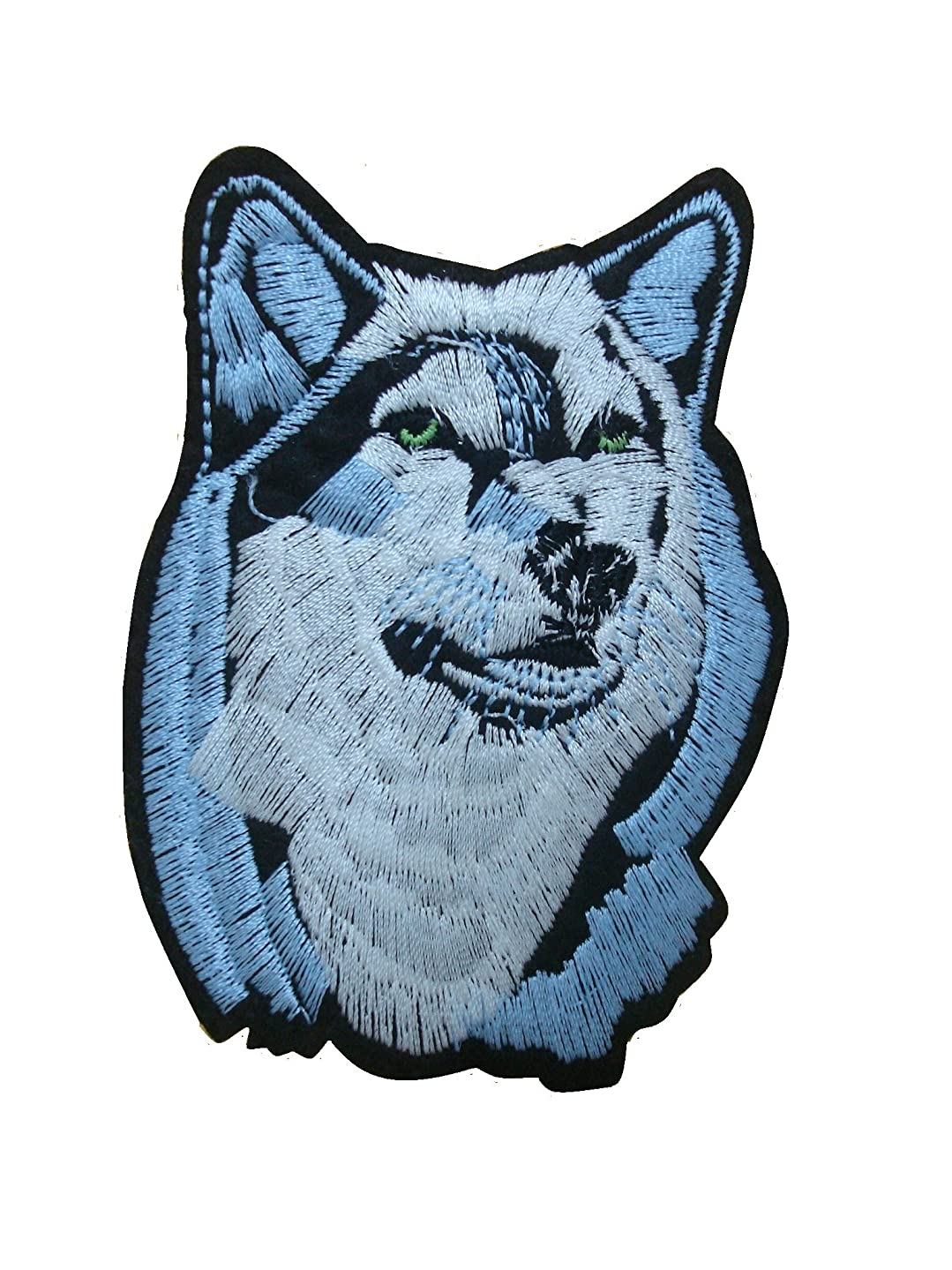 WOLF Iron On Patch Applique Wildlife Animal Husky Dog Motif Fabric Decal 3.7 x 2.5 inches (9.3 x 6.3 cm)