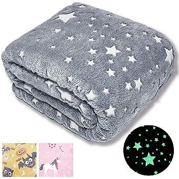 Children/'s Luminous Blanket Soft Fluffy Glowing Blanket Star Moon Plush Blanket