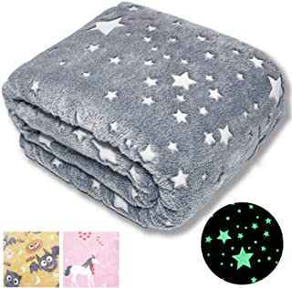 "Forestar Glow in The Dark Throw Blanket, Birthday Gift for Kids Boys Girls Toddlers, Premium Super Soft Fuzzy Fluffy Plush Furry Throw Blanket (50"" x 70"" Gray)"