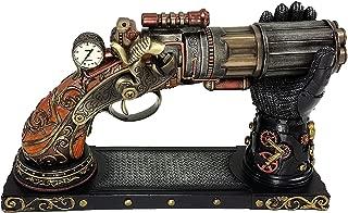 6 Barrel Steampunk Display Pistol Gun Prop W/ Gauntlet Glove Stand Statue Figurine
