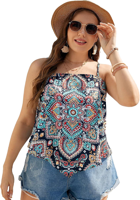 MakeMeChic Women's Plus Size Graphic Print Sleeveless Cami Tank Shirt Tops
