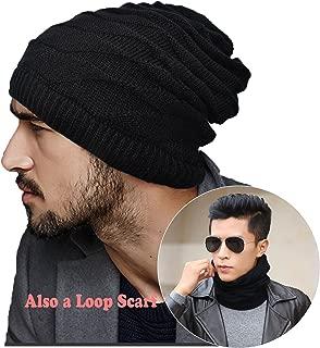 ELLEWIN Slouchy Pony Tail Beanie Dread Beanie Knit Loop Scarf Neckerchief Headband Dreadlocks Hat for Men Women