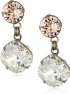Sorrelli Womens Snow Bunny Bold Crystal Drop Earrings, Clear/Pink, 1