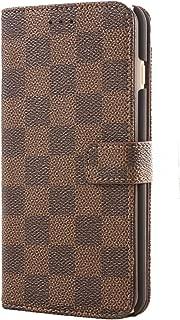 iphone 6 ケース iphone 6s ケース【MAZX】手帳型 ケース チェック柄 柔らかな材質 財布型 横開きカード収納 おしゃれ シンプル 保護ケース iphone 6/6S 専用 カードポケット付き スタンド機能 マグネット式 ケース - ブラウン