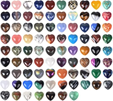 Justinstones Assorted Gemstone Mini 20mm Puffy Heart Healing Crystal Pocket Stone Rock Collection Box (Pack of 24)