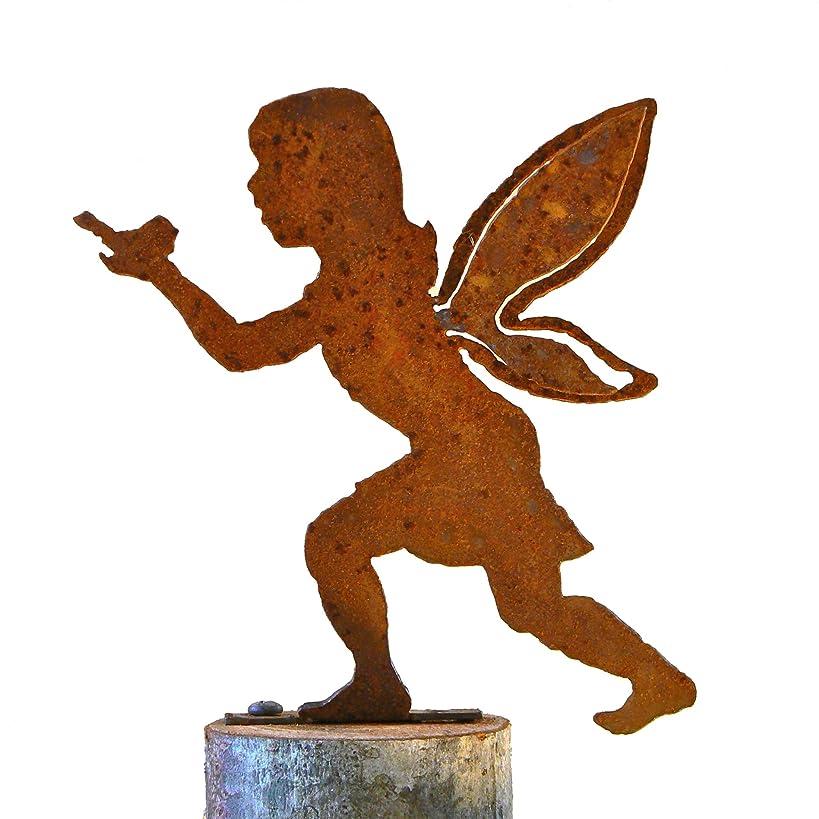 Elegant Garden Design Girl Fairy with Bird, Steel Silhouette with Rusty Patina