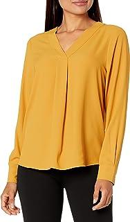 Lark & Ro Women's Long Sleeve V-Neck Pull Over Tunic Top