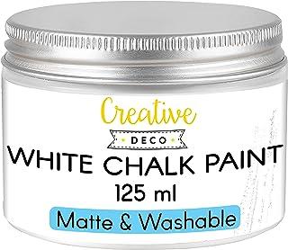 Creative Deco Weiß Kreide-Farbe   125 ml-Dose   Perfekt für Landhaus-Stil, Vintage-Stil, Decoupage, Möbel-Renovierung   Matt & abwaschbar   Wisch-Effekt und Gradient-Effekt möglich