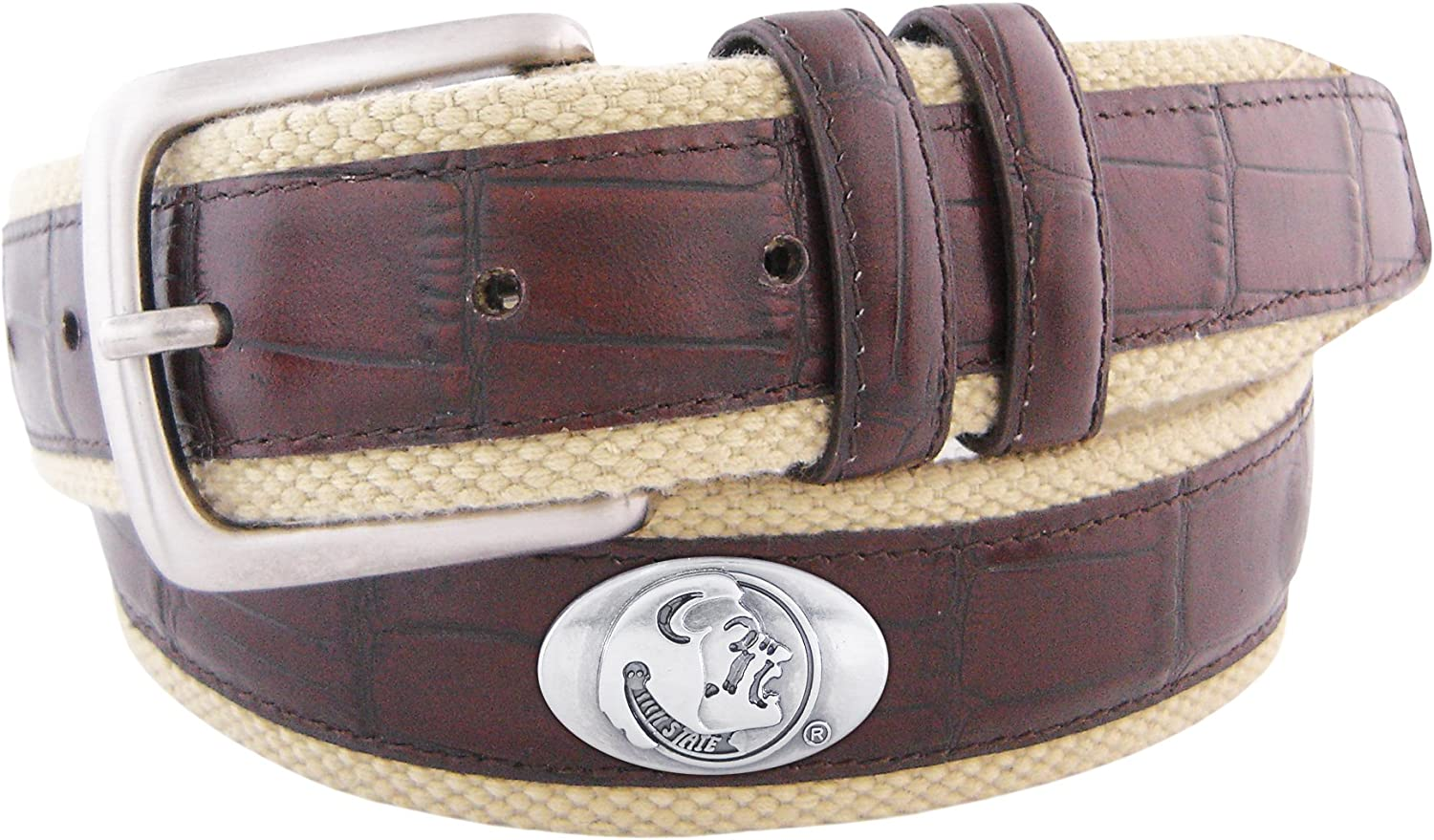 NCAA quality assurance Florida State Seminoles Croc B Concho Belt Leather Webbing Deluxe