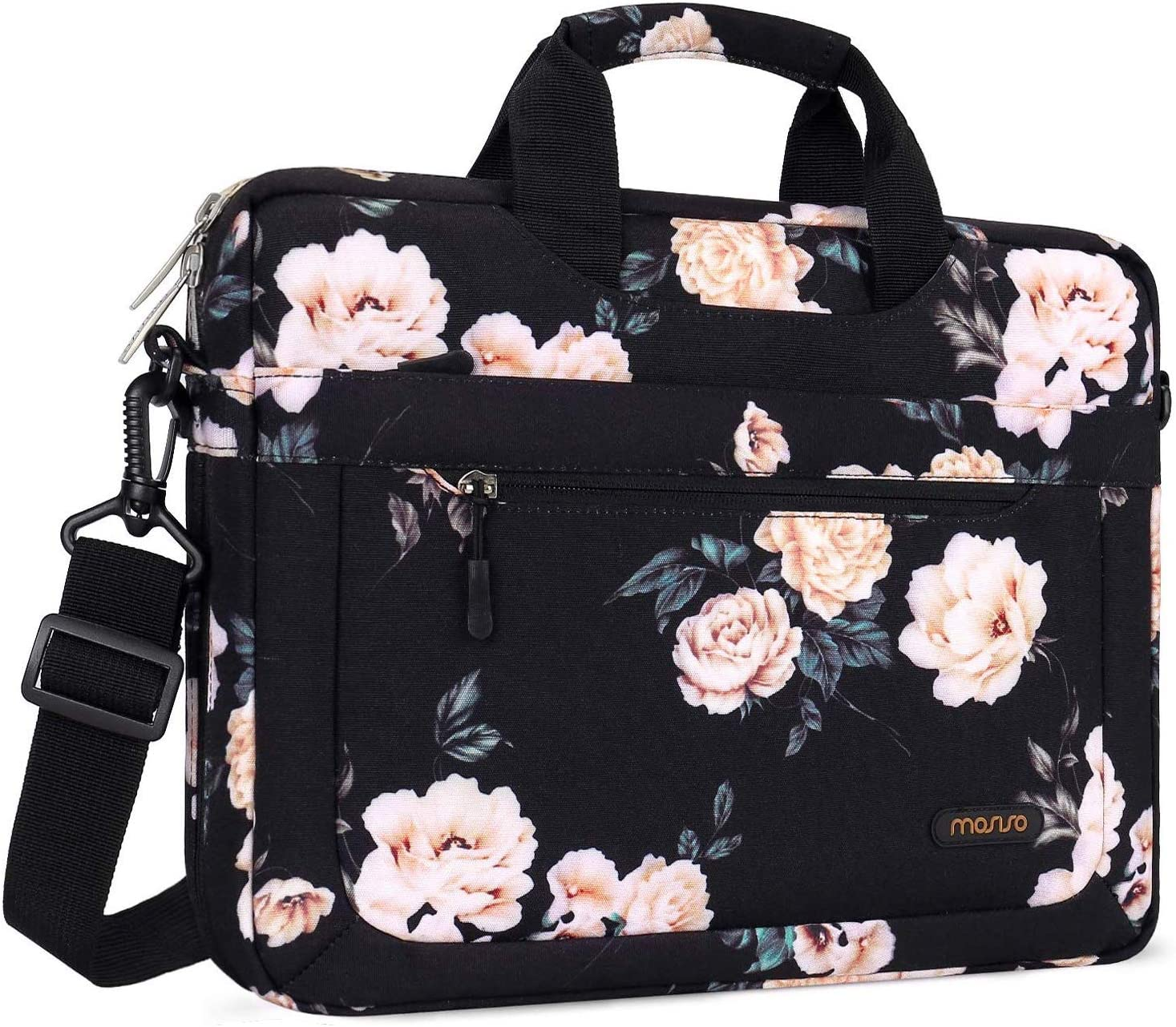 MOSISO Laptop Shoulder Bag Compatible with 13-13.3 inch MacBook Pro Black Notebook MacBook Air Polyester Camellia Messenger Carrying Briefcase Sleeve with Adjustable Depth at Bottom