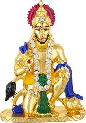 SoilMade Sitting Golden Hanuman, 100% Original and Very Rare Collection Pick Use - Make in India