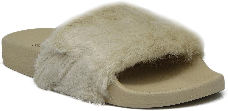 Enzo Romeo SRZ Womens Faux Fur Slide Sandals Sleep Over Loungewear Slippers