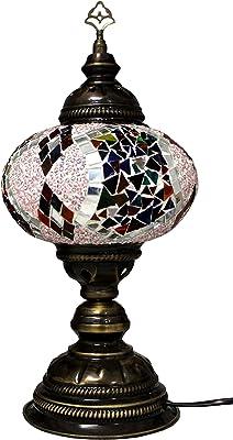 Lampadaire électrique en verre fabriqué à la main - Mosaïque orientale - Lampe d'intérieur - Lampe extérieure - Kaléidoscope avec prise UE - Motif multicolore - Diamètre : 16 cm