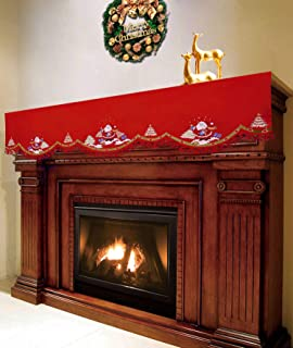 Simhomsen Embroidered Santa Claus Mantel Shelf Scarf Runner for Fireplace, Christmas Holiday Decorations (70 × 20 Inch)