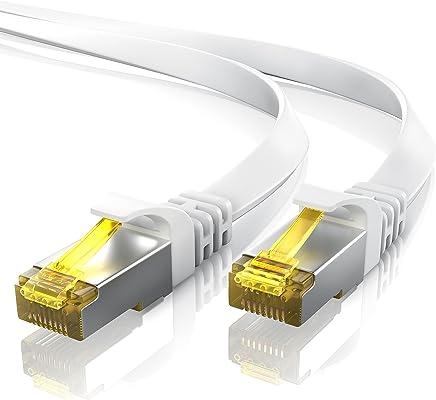 15m CAT 7 Câble réseau plat - Câble Ethernet | Gigabit réseau local LAN 10 Gbps | Câbles de connexion patch - Câbles plats - Câbles de pose | Câble CAT.7 brut Blindage U/FTP PIMF avec fiche RJ 45