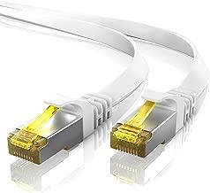 5m CAT 7 Câble réseau plat - Câble Ethernet - Gigabit réseau local LAN 10 Gbps - Câbles de connexion patch - Câbles plats - Câbles de pose - Câble CAT.7 brut Blindage U FTP PIMF avec fiche RJ 45