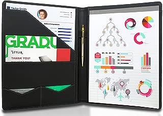 STYLIO Padfolio/Resume 组合文件夹 - 面试/法律文件整理袋和名片夹 - 带字母大小书写垫 - 帅气钢琴 Noir 人造革哑光效果和装饰针脚