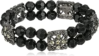 Double Beaded Black and Crystal Stretch Bracelet, 7