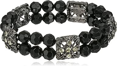 1928 Jewelry Double Beaded Black and Crystal Stretch Bracelet, 7