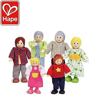 Award Winning Hape Caucasian Doll Family Set for Kid's Dollhouses