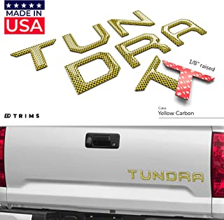 BDTrims Tailgate Domed 3D Raised Letters Compatible with 2014-2020 Tundra Models (Yellow Carbon)