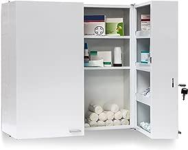 Relaxdays Armadio Porta Farmaci da Muro, Metallo, Bianco, Misure HBT: 53 x 53 x 20 cm
