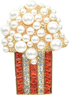 a7c733e8a Gyn&Joy Golden Tone Red and Clear Crystal Colored Rhinestones Faux Pearl  Popcorn Brooch Pin BZ155